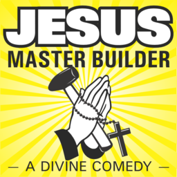 Jesus Master Builder - A Divine Comedy Image of Hands Clasped In Prayer With Rosary, Holding a Hammer