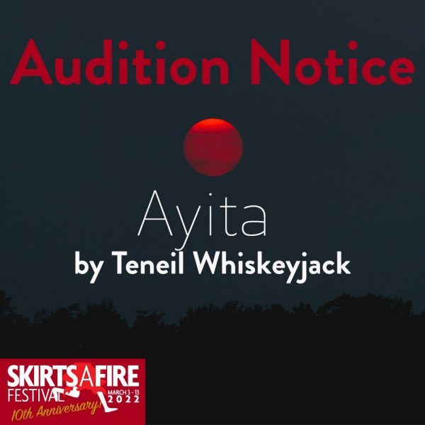 Ayita Audition Notice Dark Red Sun In Dark Sky With Silhouette of Trees