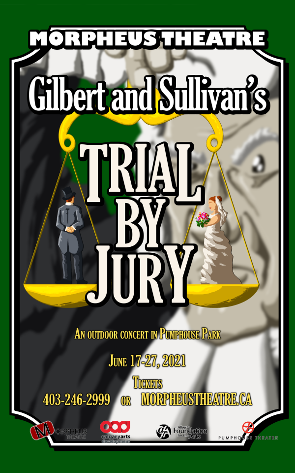 Morpheus Theatre - Trial by Jury - An outdoor concert in Pumphouse Park Graphic of Old Man Weighing Bride and Groom on Golden Scales